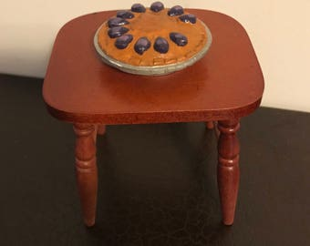 Wooden dollhouse stool and pie in original box