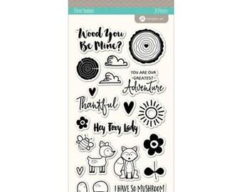 Jillibean Soup Hampto Art MUSHROOM MEDLEY clear silicone stamp set - JB1053 Hey foxy lady fox woodcut stamp cc02