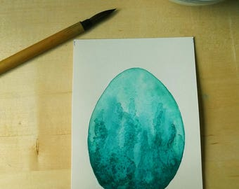 Mountain Lake Dragon Egg Watercolor Painting OOAK