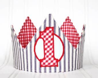 Boy First Birthday Crown, 1st biryhday crown, First Birthday Hat, First Birthday Party, Fabric Crown, classic birthday hat, Photo Prop