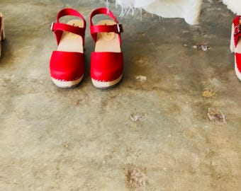 Swedish Clogs Highwood Red Leather by Lotta from Stockholm / Wooden Clogs / Leather Red Clogs / Sizes 6-10.5