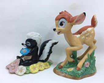 Bambi and Flower Deer and Skunk Figurines