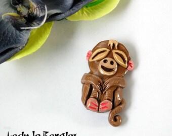 Monkey Tiki Brooch pin, Tropical, Hawaiian, Pin Up style, Luau
