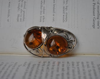 Vintage Sterling Amber Brooch - 1970s Art Nouveau Style Baltic Amber Brooch
