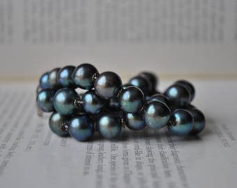 Vintage Black Pearl Necklace - 1970s Genuine Freshwater Peacock Pearls