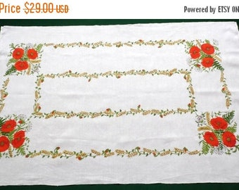 25% SUMMER SALE Vintage woven linen tablecloth with flowers - Poppies and ears table cloth Printed pattern 70s