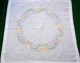 Vintage cotton square tablecloth with hand embroidery daffodils flowers table cloth spring decor