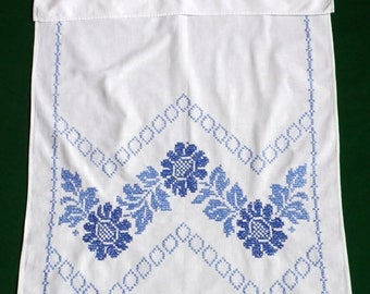 25% SUMMER SALE Vintage cotton hand embroidered hanging dish towel KITCHEN Dishtowel Blue Floral embroidery Cross Stitch Flowers 50s