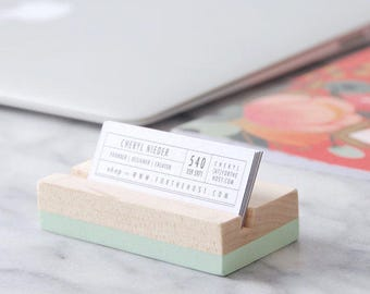 Wood Business Card Holder - Mint | Hand Painted | Desk Accessory | Office Supplies