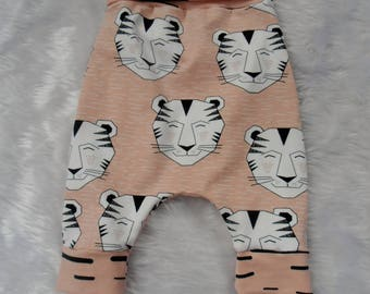 Orangic Girls Tiger leggings with soft waistband/stretchy/comfy/jersey knit