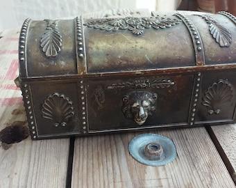 VINTAGE TREASURE box, pirates treasure chest, Jewlery box, nickel silver box, box with lion head, home decor, bright red lining (SYR 1)