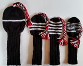 Great Gift Golf Club Headcovers SET of 4, Retro Hand Knit Custom Colors, Tassel Braids for Oversized 460cc Driver. woods, fairway, hybrids