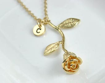 Silver or Gold Rose Necklace with Initial,18 inch, Bridesmaid Gift, jewelry, teen girl, beauty and the beast, mom, gift for her, mothers,