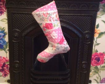 Christmas Stocking - Patchwork and Quilted FREE POSTAGE