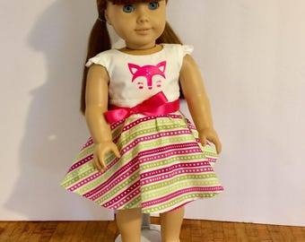 18 inch doll dress. Cute deer face dress. American girl sized doll dress. Hot pink and bright green.