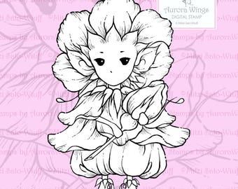 PNG Digital Stamp - Whimsical Wild Rose Sprite - Instant Download - digistamp - Fantasy Line Art for Cards & Crafts by Mitzi Sato-Wiuff