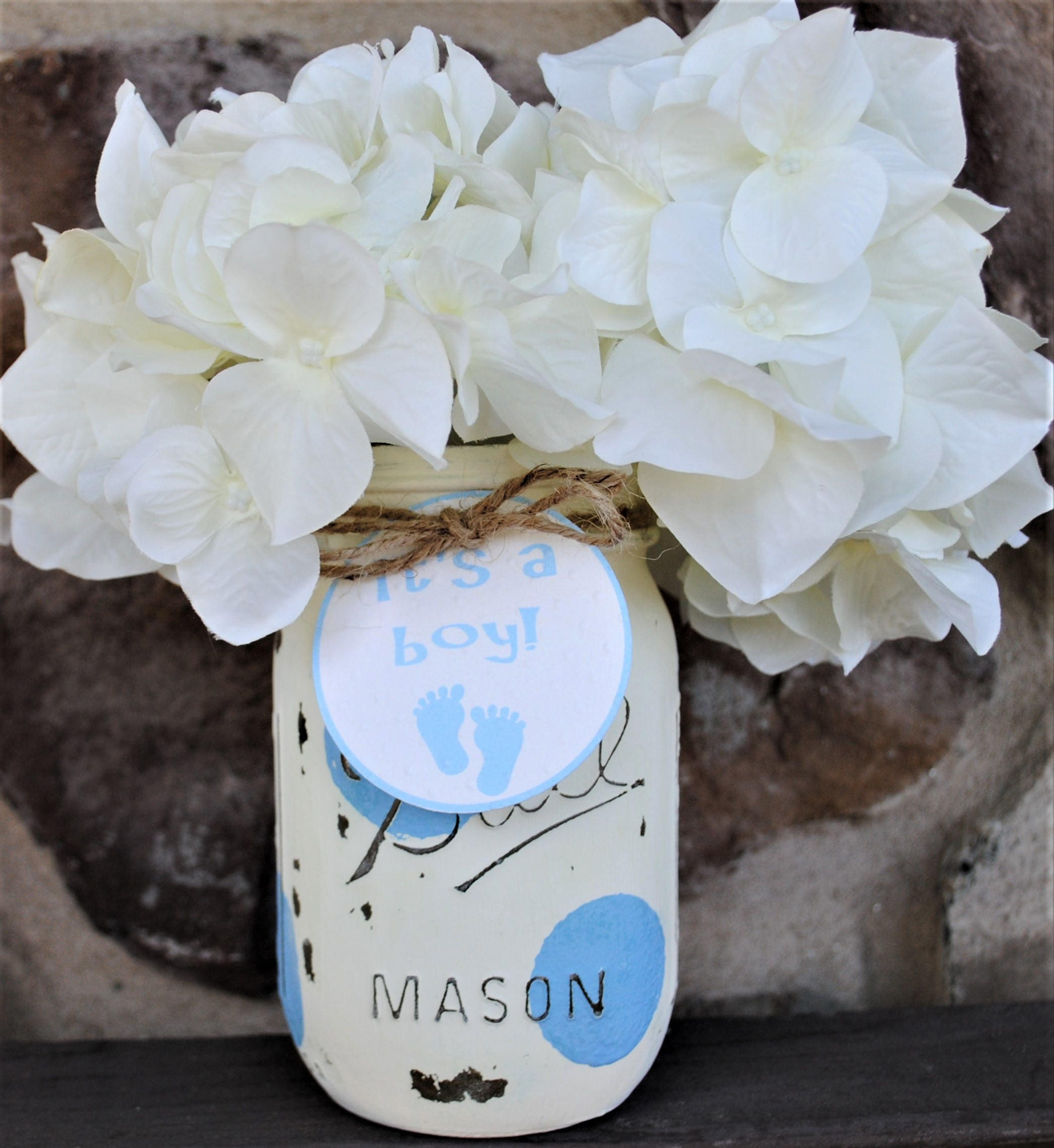 Baby Shower Mason Jar Centerpieces Boy Shower Centerpiece