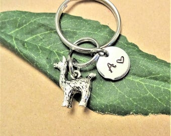 3D SMALL LLAMA KEYCHAIN  with initial charm - Please see all photos to order - One flat rate shipping in my shop :)