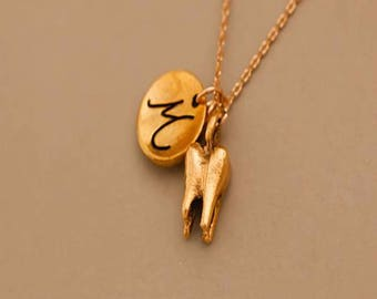 Tiny Gold filled  Tooth Necklace, tooth jewelry , sister wives necklace, tooth pendant,  mommy and me necklace, jewelry gift