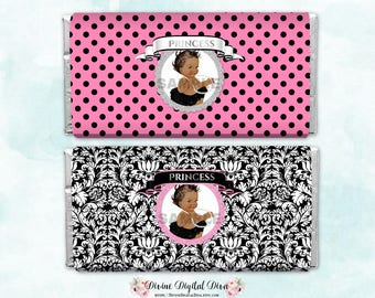 Candy Bar Wrapper Full Size | Pink Black White Silver | African American Vintage Baby Girl  | Printable Digital Instant Download