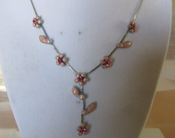 Vintage Pendant, Pink Necklace, Pink Crystals Necklace, Pink Pearl Floral Pendant, Collectible Jewelry
