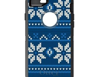Custom OtterBox Defender Case for Apple iPhone 6 6S 7 8 PLUS X 10 - Monogram - Blue White Ugly Christmas Sweater - Gift for Mom Channukah