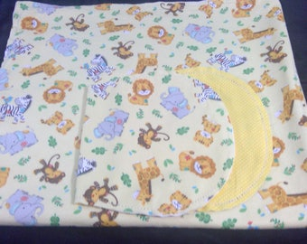 Animals, zebras, elephants with yellow Backing Hemstitched Baby Blanket and Burps ready for you to crochet by Lindas Hemstitching