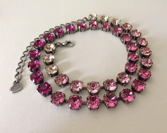 Pink Ombre crystal necklace