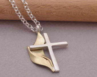 Methodist Cross Necklace for Men or Women, Sterling Silver & K14 gold United Methodist Cross Pendant, Unique UMC Religious Jewelry, ST737