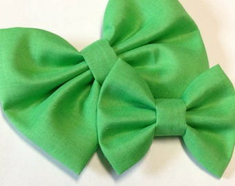 Green Solid Bow | Fabric Bow | Handmade Hair Bow | Hair Clip | Headband