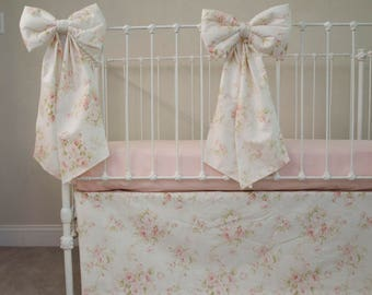 Vintage Shabby Chic Roses Floral On Cream Designer Fitted Crib