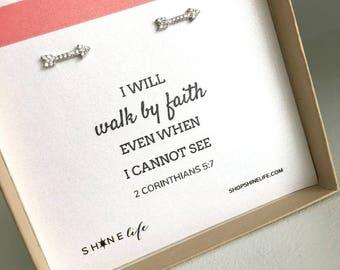 Tiny Arrow Earrings faith jewelry walk by faith encouragement future dainty sparkly earring studs