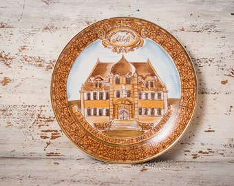 gold plate vintage porcelain decor antique plate yellow ceramic decor decorative dish rustic kitchen wall decor Kahla house collectible gift