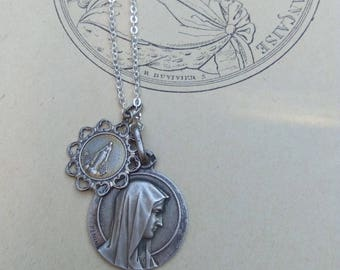 French antique sterling silver religious medal filigree virgin Mary medal necklace  Reliquary our lady of Lourdes carved solid silver medal