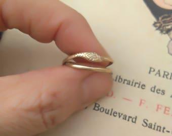 French antique 18k gold vermeil animal ring snake ring  antique bronze snake  ring solid  bronze Old ring 5 6 7 snake