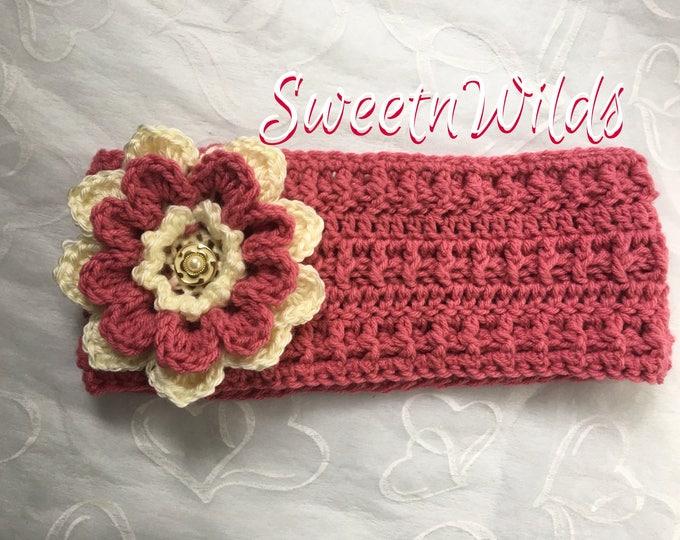 Crocheted Flower Headband -Earwarmers -Fall accessories -Womens Headbands -Big Flowers-Christmas gift ideas-Childrens Winter Hats