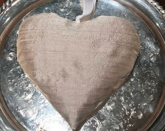 Lavender & Rose Heart Sachet~Dupioni Silk