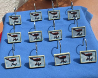 Retro Whale Wind Vane Resin & Metal Shower Curtain Hooks  Set Of 12