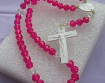 Retro Fucshia White Clear Acrylic Plastic Rosary