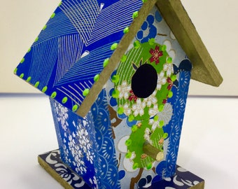 Colorful Purple Cranes Washi Wooden Birdhouse Ornament