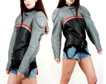 Vinatge 80s Biker Jacket / Speed Racer Jacket / Colorblock Racer Jacket / Getskinn /  Protection Jacket / Cafe Racer Jacket / Size M  /