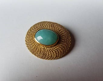 Vintage Jade Woven 18K Yellow Gold Oval Brooch
