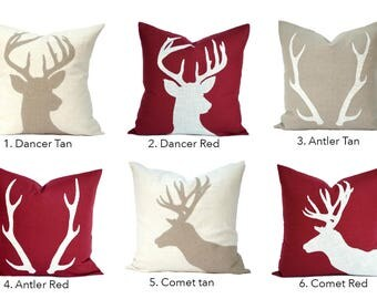 One Christmas Pillow cover, holiday pillows, Christmas Pillow, decorative pillow, cushion, Reindeer, Antler, Christmas decoration