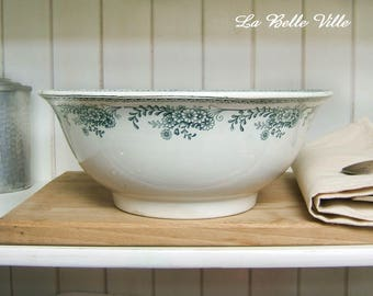 Large French serving bowl dish - Vintage green transferware bowl - Antique Saint Amand Christiane white and green faience earthenware china