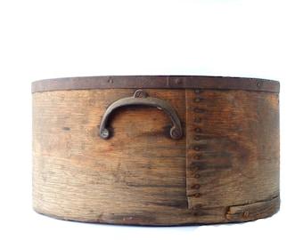 Antique Bentwood Grain Measure Container Wood Metal Round Large Pantry Box Metal Eared Handles Primitive Rustic Wooden Measure Industrial