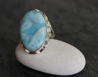Larimar Gemstone Sterling Silver Statement Oval Ring, Stephilia Stone
