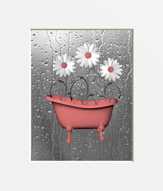 852 Bathtub Data Base Emails Contact Us Hk Mail: Coral Gray Bathroom Wall Art Pictures. Daisy Flowers