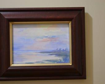 Original Watercolor, Painting, Seaside Sunset, Landscape