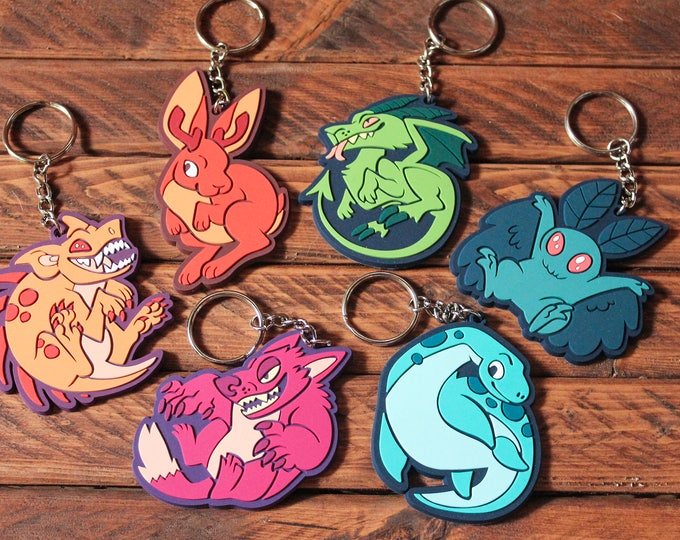 Cryptid Rubber Keychains - Set of 6
