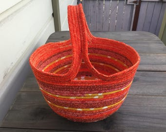 Halloween Orange Fabric-covered Clothesline Basket